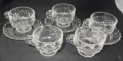 Cambridge Glass Caprice 5 Cups 3 Saucers Clear Crystal Excellent Cond
