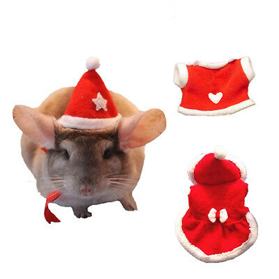 Hamster Christmas Hat Suit Dress Clothes Toy Guinea Pig Rabbit Chinchilla New