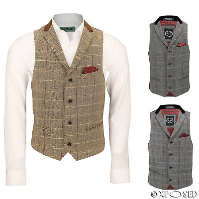 Mens Vintage Tweed Check Herringbone Velvet Collar Tailored Fit Retro Waistcoat