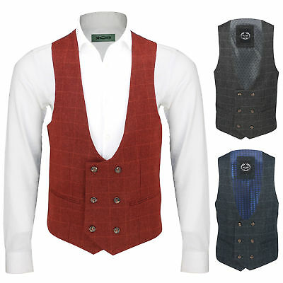 New Mens Vintage Tweed Check Double Breasted Low U Cut Waistcoat Retro Slim Fit