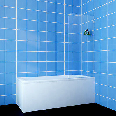 Frameless Fixed Over Bath Panel Square Shower Screen 10mm Glass with glass shelf