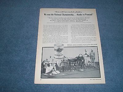 1962 Pennzoil Motor Oil Vintage Ad with Dave Skeins Dragster 1961 National Champ