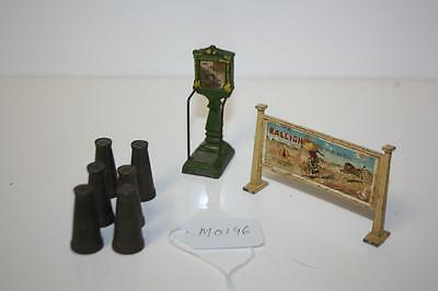 O Gauge  X 6 Churns Track Side  Sign Station Scales  Fair To Good Mo196