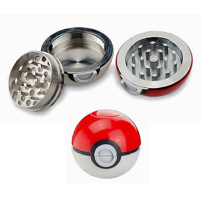 Hot Anime 55mm 3 Pieces Pokeball Spice Herb Grinder Pokemon Tobacco Grinder Gift
