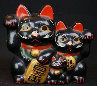 Vintage Manekineko traditional Japanese cat money box 1920s Japan ceramic
