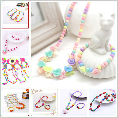 Mixing Color Child Accessories Necklace Bracelet Set Children Cute Kids Jewelry