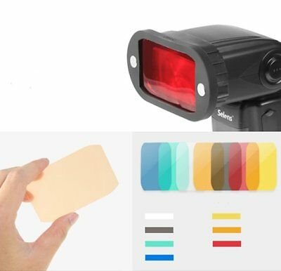 US US  Magnet Flash Honeycomb Grid W/ 7 Color Gels Filter Kit Speedlite Shooting