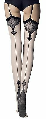 FIORE Vanity 40 Denier Stockings Patterned Seamed Stockings - 2 Colours