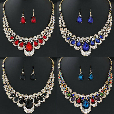 Sale Fashion Women Gold Plated Chain Necklace Hook Earrings Crystal Jewelry Sets
