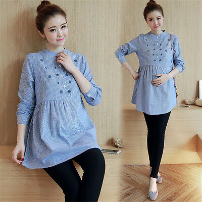 Fashion Maternity Pinstripe Shirt Blouse Fall Large Size Women Long Sleeve Tops