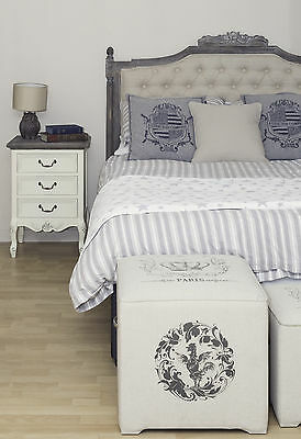 Shabby Chic Headboard French Grey Double King 4ft6 5ft Bed Linen Hand Carved Oak