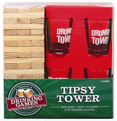Wooden Tipsy Tower Jenga Adult Party Uni Drinking Christmas Game Shot Glasses