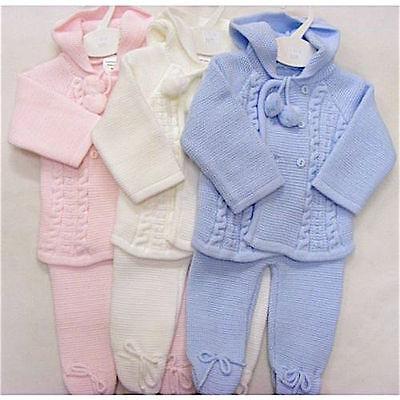 Boys Girls Spanish Style Knitted Pom Pom Hooded Jacket Trousers Set NB - 6 Month