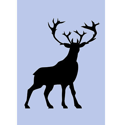 Deer Stencil Stag Antlers Standing A4 Sign Re-Usable Airbrush DIY Wall Craft 058