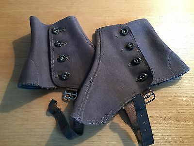 Vintage Preloved Edwardian Wool Felt Taupe/Brown 4 Button Leather Strap Spats