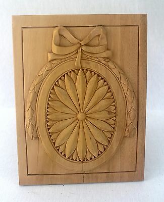 Remarkable Relief Carved Wooden Panel with Garland & Bow Unfinished