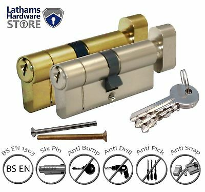 Thumb Turn Euro Cylinder Lock - High Security Anti Snap Barrel - Brass & Nickel