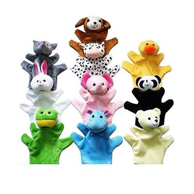 10pcs Cute Family Animal Hand Puppets Cloth Doll Baby Kids Educational Story Toy