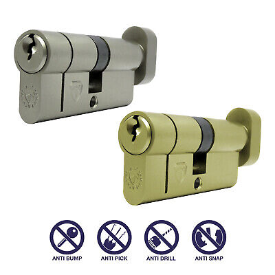 T40/40 (T35/10/35) Thumb Turn Anti Snap Euro Cylinder Lock - HIGH SECURITY 6 PIN