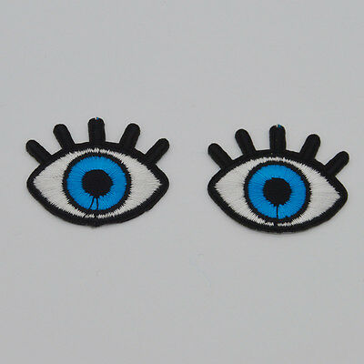 Blue eyes Embroidery Iron on patch sewn For clothing applique backpack Motif
