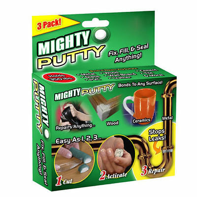 3 Pack Mighty Putty Fill Seal Glue Adhesive Tool For Wood Metal With Gloves FS