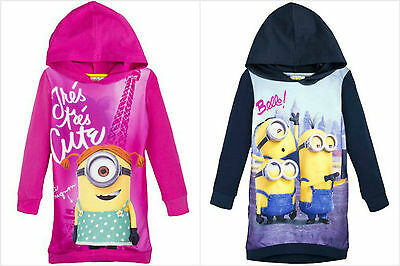 Minion Hoodie Jumper Sweater Tunic Dress Top Girls Minions Despicable Me 2-8Y