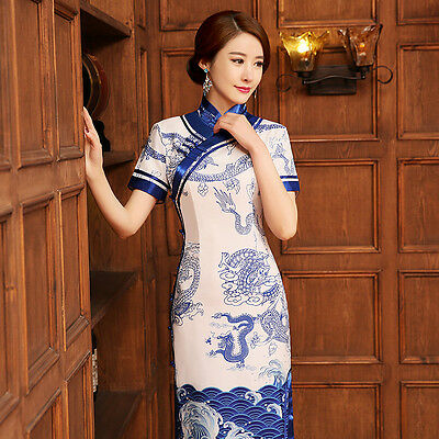 The new silk long section of handmade plate buttons cheongsam upscale partydress