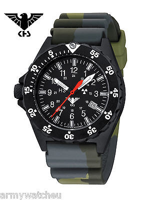 KHS Tactical Watches Black Shooter Trigalight Date German Military Police Watch