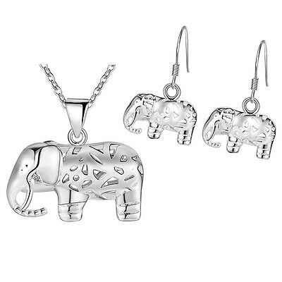 Hot elephant 925 STERLING SILVER Jewelry Sets necklace earrings female girl