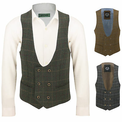 Mens Vintage Tweed Check Double Breasted Low U Cut Suit Waistcoat Retro Slim Fit