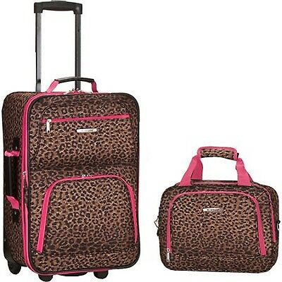 Rockland Rolling Luggage Pink Leopard Suitcase Expandable Carry ...