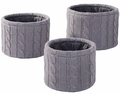 Set 3 Modern RUSTIC Chunky Cable knit Grey Storage Baskets Black Lining NEW