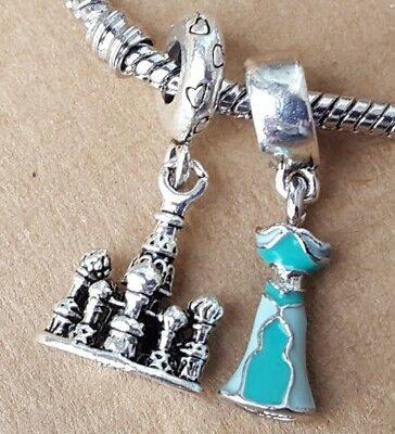 Disney Princess Jasmine Green Dress Aladdin Castle European Dangle