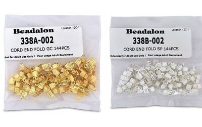 Beadalon Fold Over Cord End - Findings for Cord, Suede Lace etc - Gold & Silver