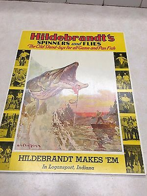 """NOS Vintage HILDEBRANDT'S SPINNERS & FLYS """"MUSKY"""" Yellow Counter-top SIGN"""