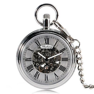 Steampunk Silver Auto Mechanical Skeleton Mens Vintage Pendant Pocket Watch Gift
