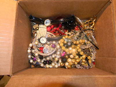 Junk Drawer Scrap  Costume Jewelry Lot Earings Necklaces Glasses Ect ......