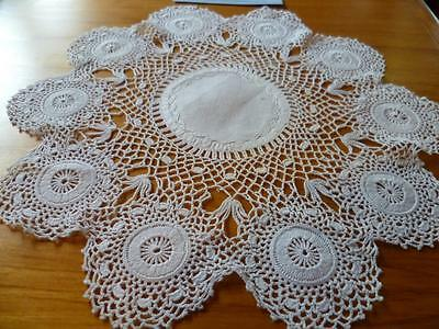Gorgeous Vintage White Hand Crochet Pattern Doily with linen centre -Feather emb