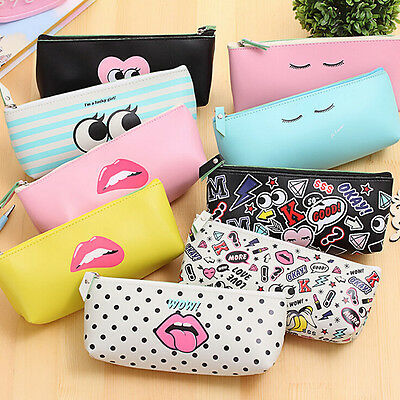 Cute PU leather pencil case Kawaii pen bag stationery pouch school office supply