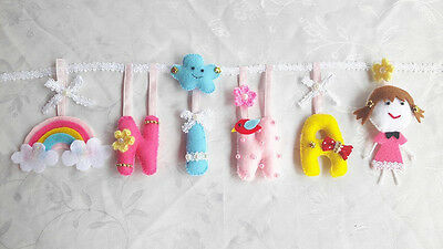 Nursery Baby Kids Letters Words Wall Hanging Colorful Fabric Name Sign Custom