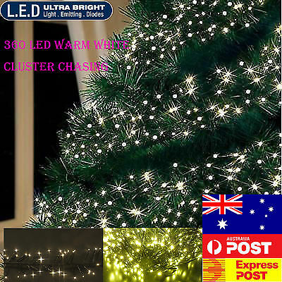360Led Warm White Cluster Chasing Xmas Lights 8 Functions & Memory