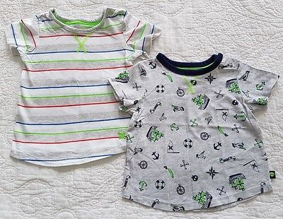 Target, 2 x Baby Boys Grey, Blue & Green T-shirts, Size 1 (12-18 months)