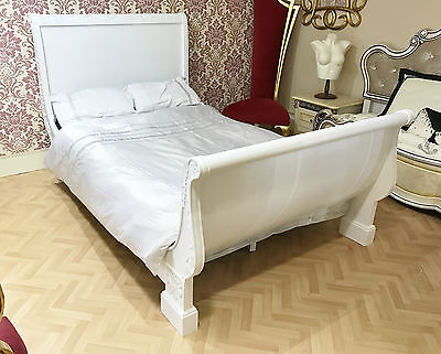 French Bed Wooden Double White 4Ft6 Frame Carving Shabby Chic Sleigh Antique