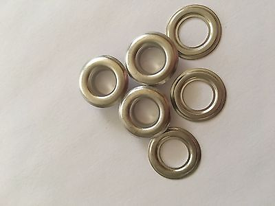 "100 # 2 ( 3/8"" ) Nickel Plated Solid Brass Self Piercing Grommets & Washers"