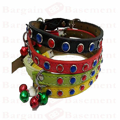 Studded Faux Leather Cat Collar Wth Bells And Elastic Coloured Jewels Ajustable
