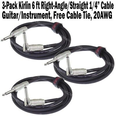 3-Pack Kirlin 6 ft Cable Right-Angle Electric Patch Cord Guitar +Free Cable Tie