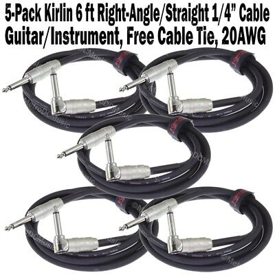 5-Pack Kirlin 6 ft Cable Right-Angle Electric Patch Cord Guitar +Free Cable Tie