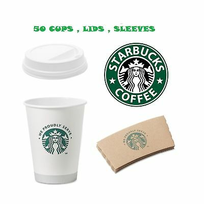 Starbucks White Disposable Hot Paper Cup, 12 Ounce, Sleeves and Lids