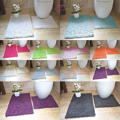100% Cotton 2 Piece Tumble Twist Bath & Pedestal Mat Set Anti-Slip Back Washable