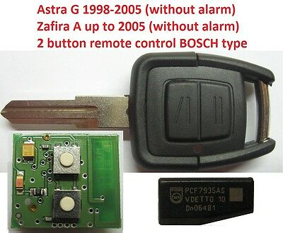 opel vauxhall 2 button remote key fob controler ASTRA G ZAFIRA A  433mhz BOSCH